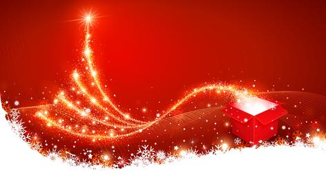Christmas background with magic box and Christmas Tree